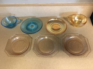 Vintage Depression Glass Salad Plates and Cups/Saucers Pair for Sale in Goodlettsville, TN