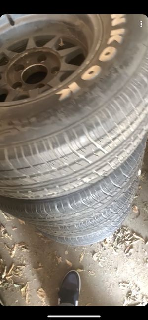 Chevy rims 15 Hankook 15 inch tires deep dish rim black for Sale in Fresno, CA
