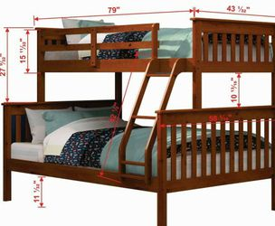 New In Stock Twin Full Wood Bunk Bed With Twin And Full Mattresses for Sale in Riverdale Park,  MD