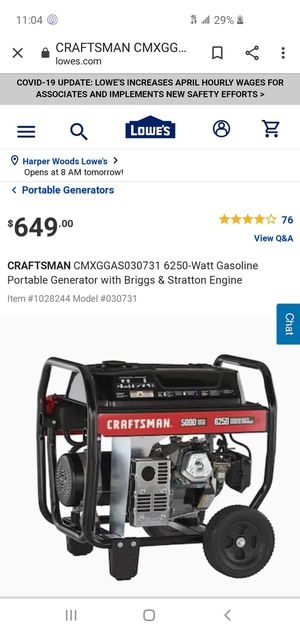 craftsman generator for Sale in Detroit, MI