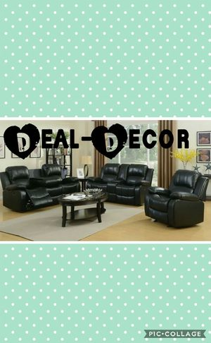 Reclining Leather 3 Piece Sofa Set for Sale in Atlanta, GA