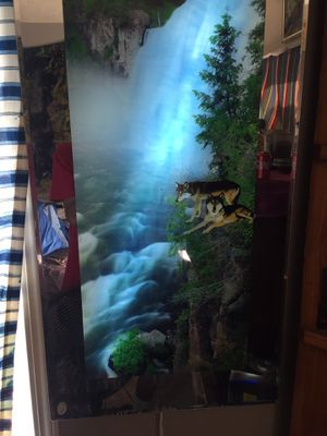 Hanging mirror of waterfall and wolves for Sale in Shelbyville, TN