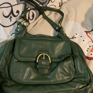 Forest Green Real LeatherCoach Hobo Shoulder Large Bag With Multiple Sections EUC for Sale in Lexington, SC