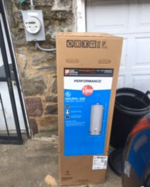 Brand new Rheem tall 40 gallon gas water heater tank boiler Brand new in box never opened. Factory 6 year warranty. Can be delivered or installed for for Sale in Cheltenham, PA