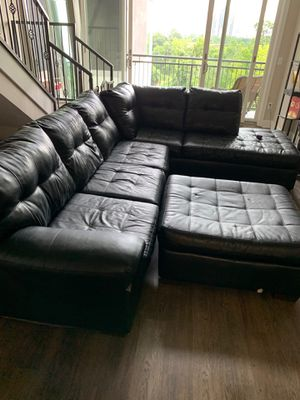 Black leather sectional couch for Sale in Houston, TX
