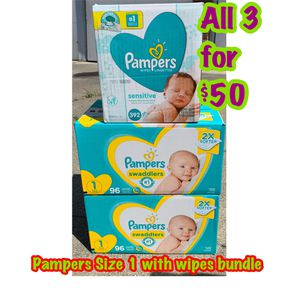 pampers size 1 diapers with wipes bundle for Sale in Oakland, CA