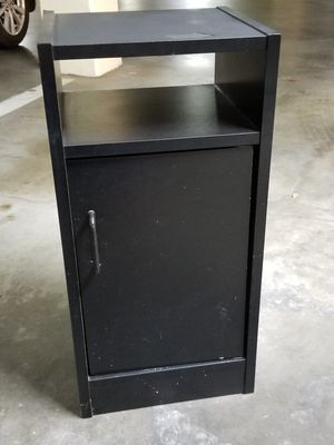 Small black cabinet. 13 by 12 by 27 inch tall. Long Beach 90814 cash only for Sale in Long Beach, CA