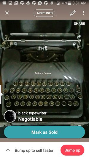 Old typewriter negotiable for Sale in Pittsburgh, PA
