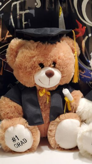 Beatiful Large Graduation Plush Teddy Bear # 1 Grad with Black Gown and Cap and Diploma/Brown or Off White /Hablamos Espanol for Sale in Downey, CA