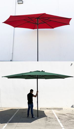 New $55 each Outdoor 13' ft Patio Umbrella Sun Shades Market Garden Deck (Tan, Red, or Green) for Sale in El Monte, CA
