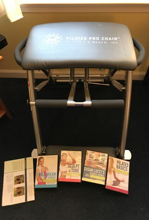 Pilates Pro Chair, 4 DVDs, Exercise poster for Sale in Cambridge, MD