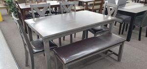 -Grey Dining Table. 4 Chairs and Bench- for Sale in Moreno Valley, CA