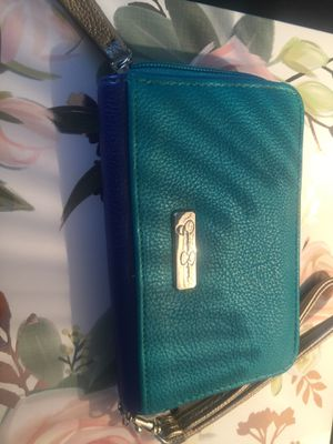 New Jessica Simpson wristlet teal with cobalt blue cheetah print inside designer pretty style new! for Sale in Northfield, OH