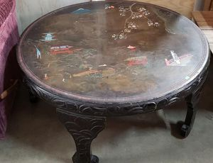 Hand Painted Mother Of Pearl Inlaid Asian Coffee Table - Delivery Available for Sale in Tacoma, WA