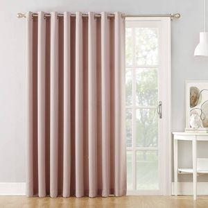 """Sun Zero Barrow Grommet Sliding Patio Door Curtain Panel, 100"""" x 84"""" Wide Door, Blush Pink (x2) for Sale in Seattle, WA"""