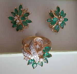 Beautiful genuine emerald and diamond 14kset for Sale in Sun City, AZ