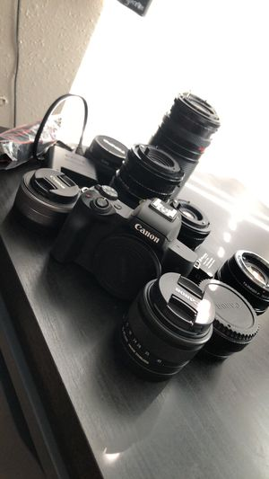 Canon EOS M50 with 15-45mm and 22mm EF-M Mount, adapter for EF and FD lenses with several FD lenses for Sale in Salt Lake City, UT