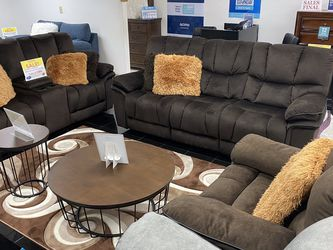 **SALE** Barcelona Brown Reclining Sofa, Loveseat And Chair. Add On Coffee Table Set For Only $149. ONLY $50 DOWN. Delivery Today 🚚!!! for Sale in Tampa,  FL
