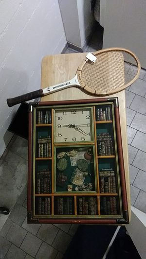 Tennis theme...collectible glass case and Rossignol tennis racket for Sale in Shoreline, WA