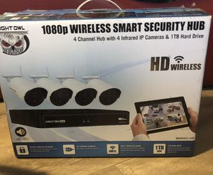 ***BRAND NEW-NEVER USED*** ••••• Night Owl 4 Channel 1080p Wireless Smart Security Hub with 4 x 1080p Infrared IP Cameras and 1 TB HDD WNVR201-44P for Sale in Vista, CA