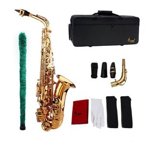 Saxophone Sax Eb Be Alto E Flat Brass Carved Pattern on Surface Plastic Mouthpiece Exquisite with Gloves Cleaning Cloth Brush Straps for Sale in Whittier, CA