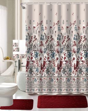 Burgundy color bathroom set decor brand new with matching shower curtain for Sale in Salem, OR