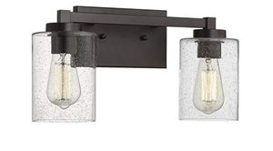 Beionxii Bathroom Vanity Lights, 2-Light Vintage Wall Sconce Light Fixtures, Oil Rubbed Bronze Finish with Clear Seeded Glass - MB9002 Series for Sale in Milton, MA