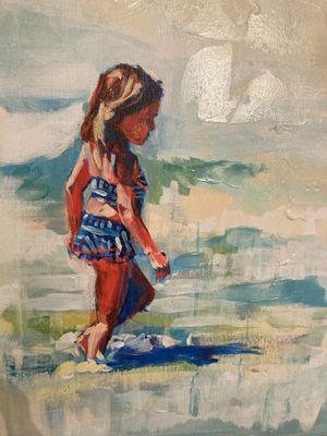 Little girl on the beach - framed beach art. for Sale in Virginia Beach, VA