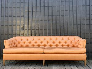 Rare Mid Century Salmon Rose Gold Velvet Couch Vintage Chesterfield for Sale in Decatur, GA