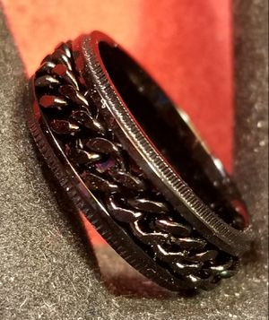 Black Stainless Steel Curb Chain Spinner Ring. for Sale in Amarillo, TX
