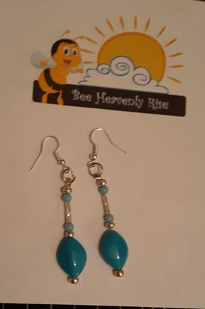 Turquoise-Silver Glass Beads Earrings for Sale in New Haven, CT