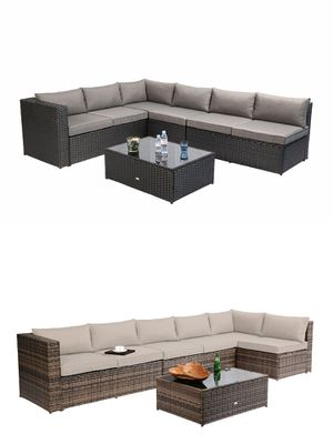 Azure Sky K86 Outdoor Furniture Sectional Sofa Patio 5 Pieces Set Table And Cushions