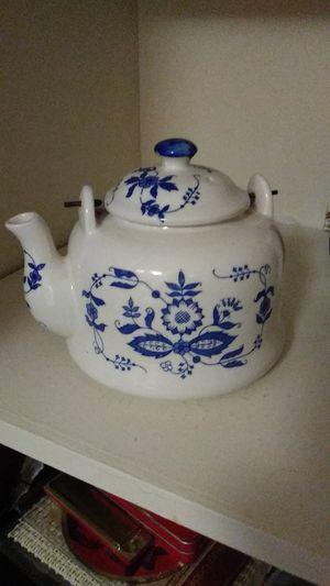 Tea kettle white blue print glass for Sale in Cranston, RI