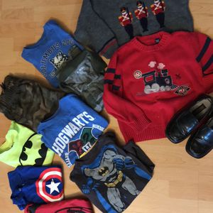 Boy's Lot Of 11 Items Shirts Pants Sweaters Shoes Size 5-6 for Sale in Syracuse, NY