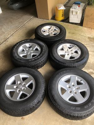 (5) 2016 Jeep Wrangler wheels and Goodyear tires for Sale in Taylor Lake Village, TX