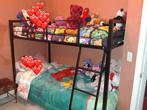 Metal twin over twin bunk bed for Sale in Orlando, FL