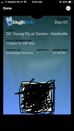 Comedy Ticket VIP DC Young Fly NASHVILLE for Sale in Clarksville, TN