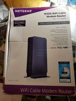 NETGEAR N300 (8x4) WiFi DOCSIS 3.0 Cable Modem Router (C3700) Certified for Xfinity from Comcast, Spectrum, Cox, Spectrum & more for Sale in Rosemead, CA