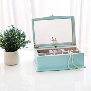 NEW Jewelry Music Box with Ballerina Girls Music Unique Tiffany Blue Wooden Musical Box with Large Mirror for Sale in Henderson, NV