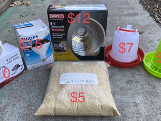 Baby Chicks Supplies: Heatlamp, Feeder, Waterer, Food for Sale in Tustin,  CA