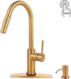 TINAGO Touch Kitchen Sink Faucet with Pull Down Sprayer, Pull Out Flexible 2 Mode Spray, with 17 oz Soap Dispenser, Brushed Gold brand new for Sale in Tinley Park, IL