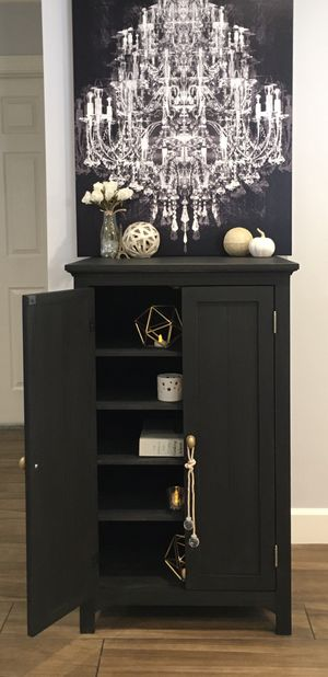 Modern Urban Rustic Farmhouse Tall Wood Black Multi-Purpose Storage Cabinet, Chest, Buffet, Armoire, Bookcase, Dresser, TV Stand - Sophisticated! for Sale in Phoenix, AZ