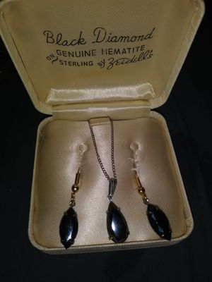 Vintage zidell black diamond earring and matching necklace for Sale in Little Rock, AR