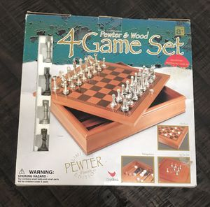 4 in 1 Game Set Pewter Chess Checkers Backgammon Tic Tac Toe for Sale in Port St. Lucie, FL