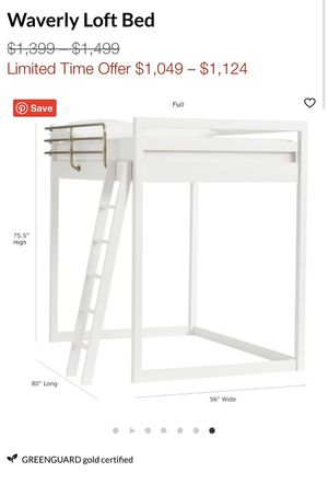 Pottery barn white lofted bed frame - like new for Sale in Culver City, CA
