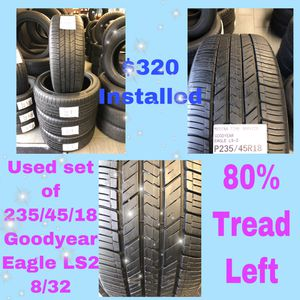 Used set of 235/45/18 Goodyear Eagle LS2 for Sale in Old Bridge Township, NJ