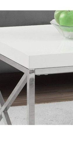 Modern Coffee Table for Living Room Center Table with Metal Frame, 44 Inch L, Glossy White / Chrome for Sale in Arlington,  VA
