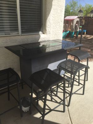 Patio bar with gaming and 4 stools for Sale in Las Vegas, NV