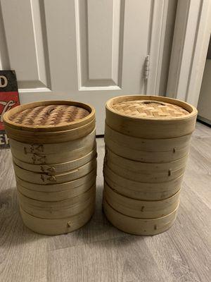 Bamboo Steamer 10 racks + 2 lids for Sale in Las Vegas, NV