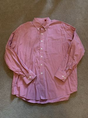 Izod Sueded Poplin Cotton Oxford Long Sleeve Red Plaid Button Down Shirt Mens XL for Sale in Pelham, NH